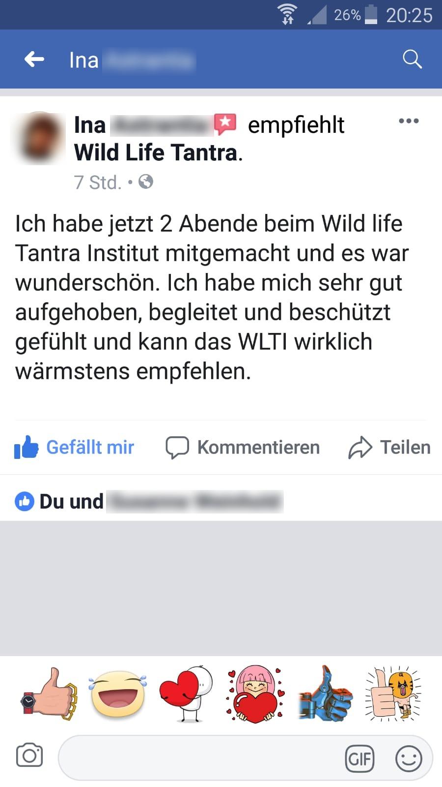 Testemonial Kundenmeinung Feedback Facebook Wild Life Touch Erlebnisabend Tantra Tantramassage Workshop Ritual Kreisritual