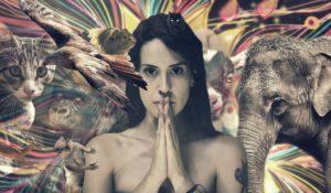 Mädchen im Jungel, Vogel, Elefant und Namasté